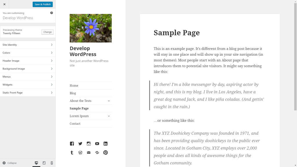 The customizer as it appears in WordPress 4.6 with the Twenty Fifteen theme.