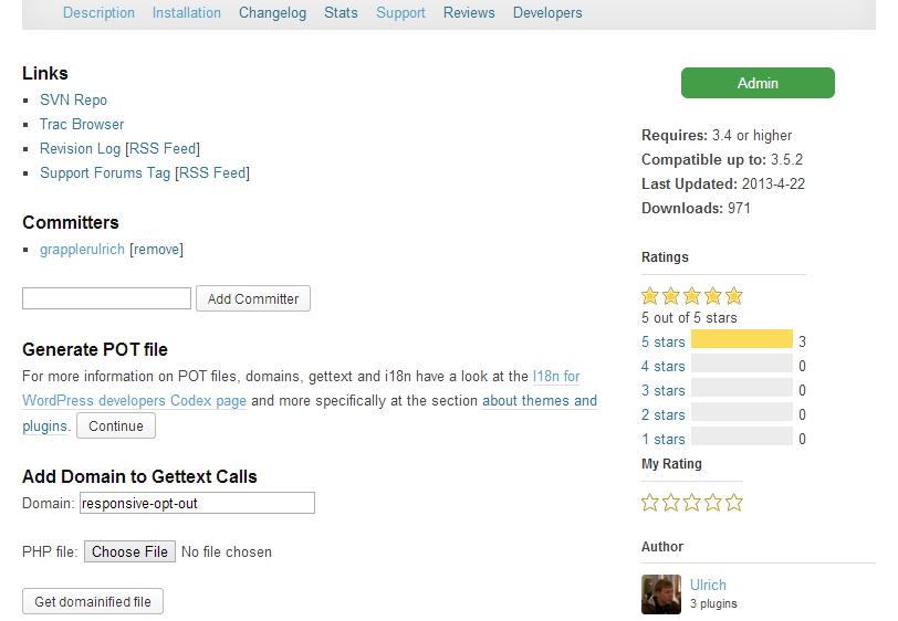 WordPress.org Plugin Admin area